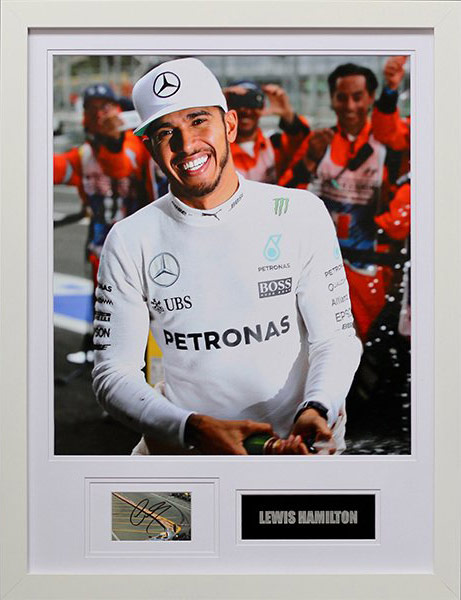 Lewis Hamilton signed display - Verve Rally Charity Gala